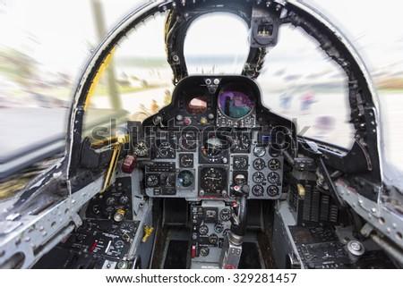 GIJON-SPAIN - JULY 26: F4 Phantom cockpit during exhibition in X AIR FESTIVAL on july 26, 2015 in Gijon,Spain. - stock photo