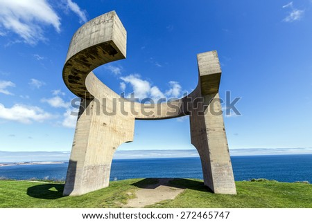 Gijon, Spain - March 31, 2015: Eulogy of the Horizon in Gijon, Spain. Sculpture designed by Eduardo Chillida and it is one of the most recognized monuments in Gijon, Asturias. - stock photo