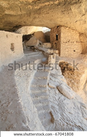 Gila Cliff Dwellings National Monument native american indian ruins - stock photo