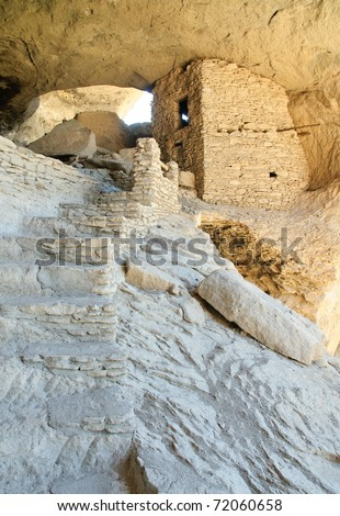 Gila Cliff Dwellings National Monument, native american indian ruins - stock photo