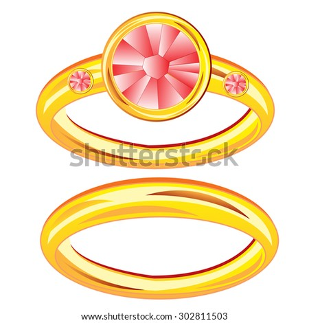 Gilded ring with jewels on white background is insulated.Raster version of artwork - stock photo