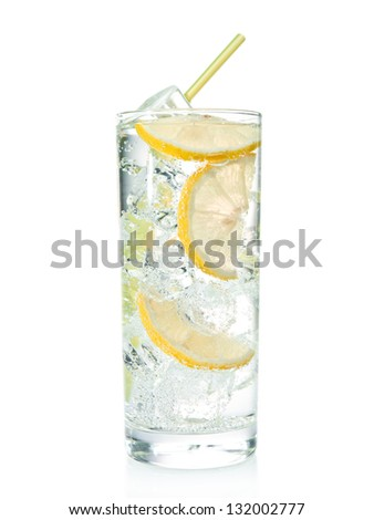 Gin and tonic cocktail with lemon over white background - stock photo