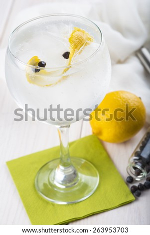 Gin and tonic on a highball glass with a lemon twist and juniper berries - stock photo