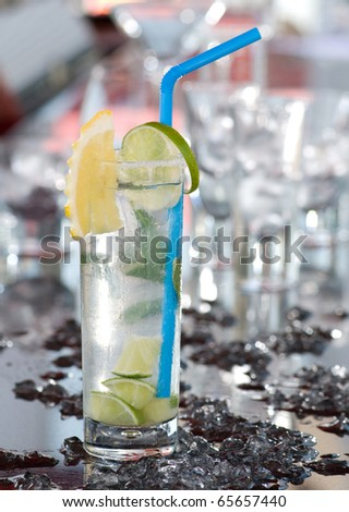 Gin and tonic with lime - stock photo