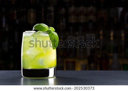 gin basil smash cocktail - stock photo