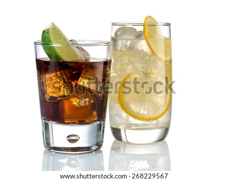 Gin tonic and whiskey cola - stock photo
