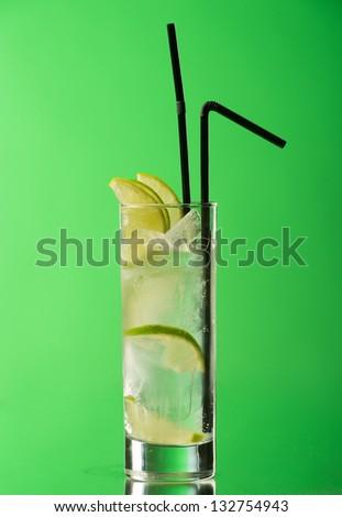 Gin tonic on white background - stock photo
