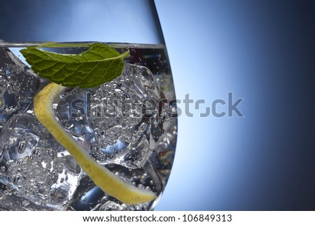 Gin tonic with lemon and ice - stock photo