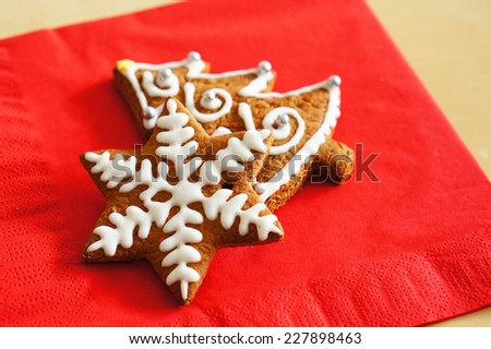 Ginger bread cookies in tree and star shape - stock photo