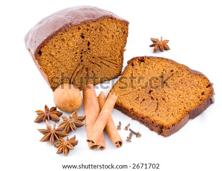 ginger-bread, honey-cake with spices all around, isolated on white - stock photo