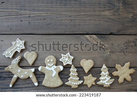 Ginger Breads, Decorated in white, as Christmas or Winter Background with Copy Space - stock photo