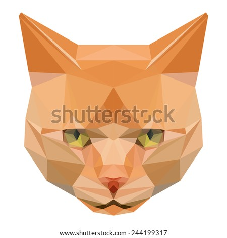 Ginger cat. Abstract polygonal geometric angry ginger cat portrait. Graphic ginger cat isolated on white for design card, invitation, poster, book. Nature, animal and wildlife theme. Raster copy. - stock photo