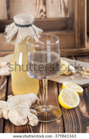 Ginger drink with chia seeds. Shallow dof - stock photo