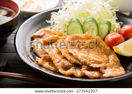 ginger?fried pork japanese food - stock photo