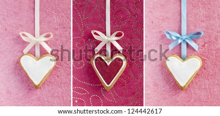 Ginger Heart shaped cookies for Valentine's or Wedding Day with bows and ribbons on pink background. - stock photo