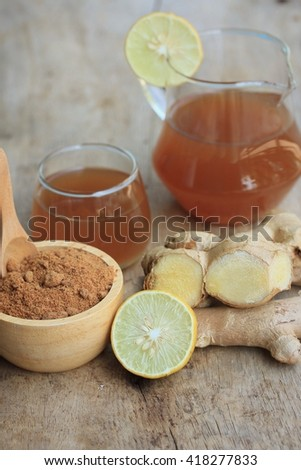Ginger juice with sugar - stock photo