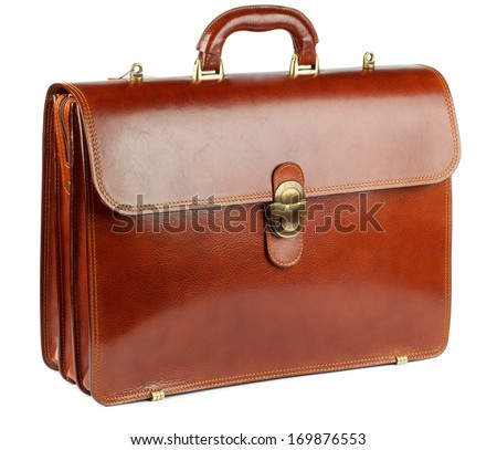 Ginger Leather Briefcase with Gold Details isolated on white background - stock photo