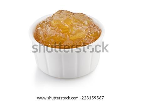 ginger lemon marmalade isolated on white background  - stock photo