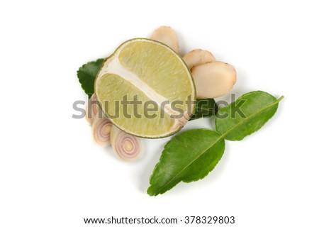 ginger, lime, kaffir  leaves, lemon grass on white background  isolated - stock photo