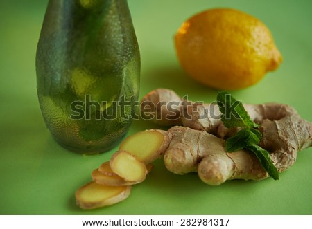 ginger root and fresh mint - stock photo