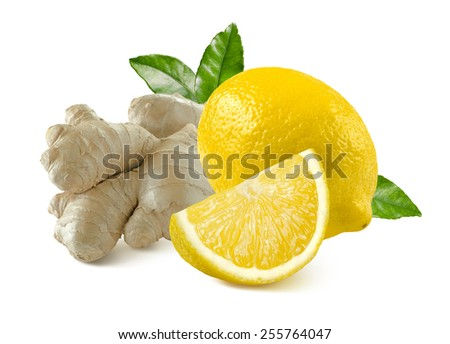 Ginger root and lemon whole quarter isolated on white background as package design element - stock photo