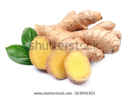 Ginger root in isolated white background - stock photo