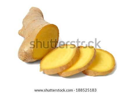 Ginger root sliced on white background - stock photo