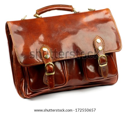 Ginger Shiny Leather Old Fashioned Briefcase with Gold Details and Fasteners isolated on white background - stock photo