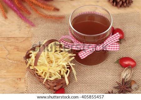 Ginger tea and fresh ginger - stock photo