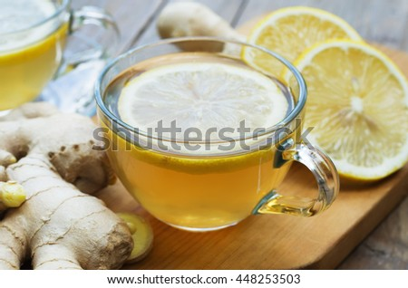 Ginger tea with lemon - stock photo