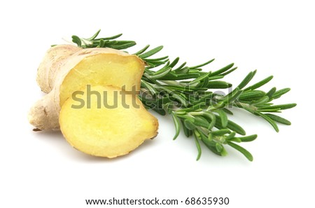Ginger with rosemary on a white background - stock photo