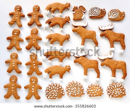 Gingerbread animals - stock photo