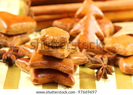 Gingerbread Christmas tree and star anise. table decoration - stock photo