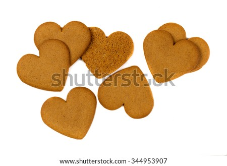 Gingerbread cookie in the shape of heart. Isolate on white. - stock photo