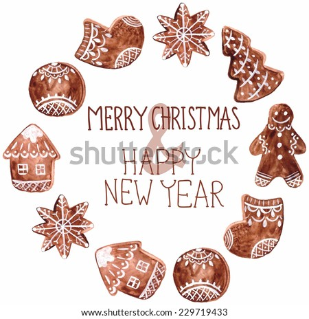 Gingerbread cookies and christmas decoration - decoration ball, star, men, home, firtree and sock - stock photo