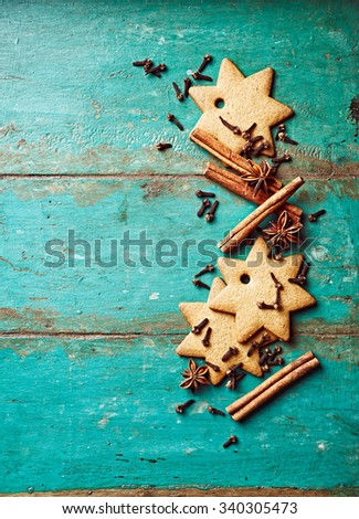 Gingerbread cookies and spices for Christmas baking - stock photo