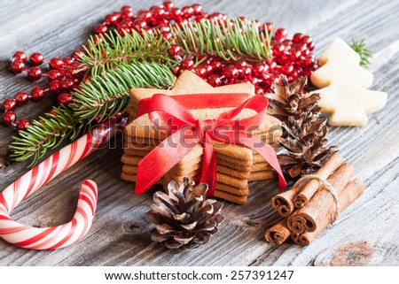 Gingerbread cookies. Christmas decoration - stock photo