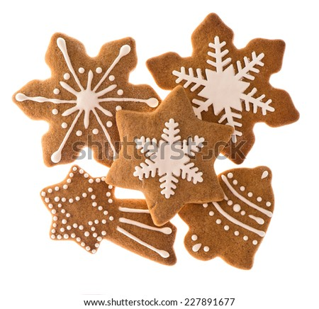 gingerbread cookies isolated on white background. traditional christmas food - stock photo