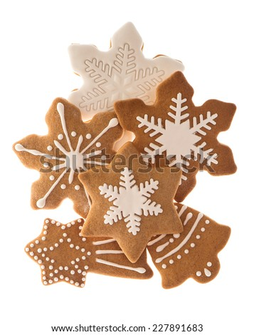 gingerbread cookies isolated on white background. traditional christmas sweet food - stock photo
