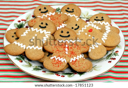 Gingerbread cookies on a Christmas plate. - stock photo