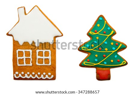 Gingerbread cookies on a white background - stock photo