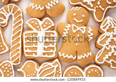 Gingerbread cookies on the white background - stock photo