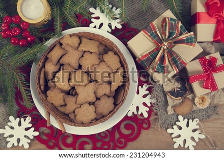 Gingerbread cookies with christmas  decoration - stock photo