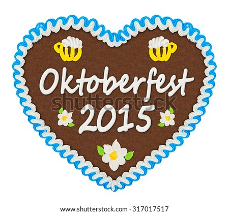 gingerbread heart with Oktoberfest 2015 lettering - stock photo