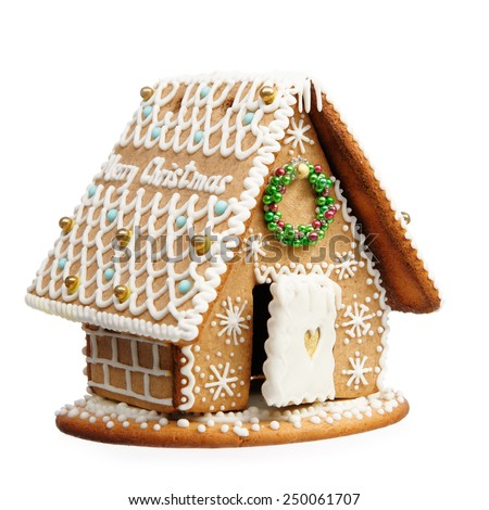 Gingerbread house isolated on a white background.  - stock photo