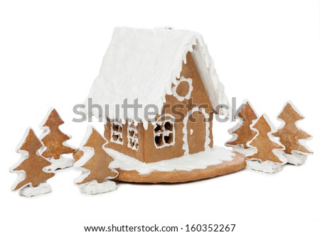 Gingerbread house isolated on white background - stock photo
