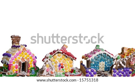 gingerbread houses - isolated on white - stock photo