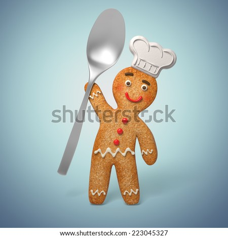 gingerbread man holding spoon, funny 3d cook cartoon character illustration - stock photo