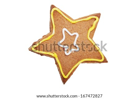 Gingerbread Star cookie. Isolated on white. - stock photo