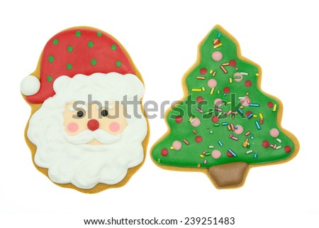 Gingerbread tree isolated on white background. Christmas cookie , Clipping path  - stock photo